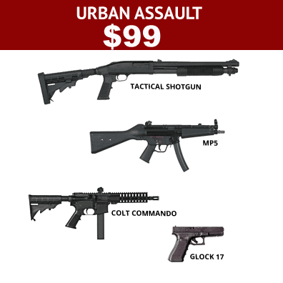 Urban-Assault-gun-package-with-4-guns-to-shoot