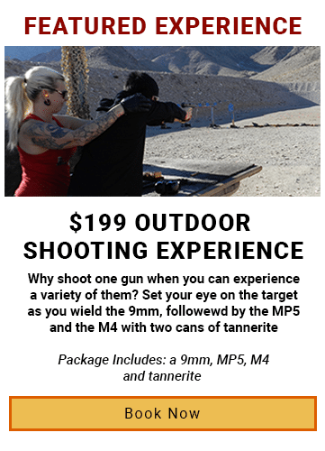 $199 Outdoor shooting range experience package with a 9mm, MP5. M4 and tannerite