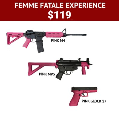 Femme Fatale pink gun shooting experience package for $119 per person with 3 guns - an M4, MP5 and Glock